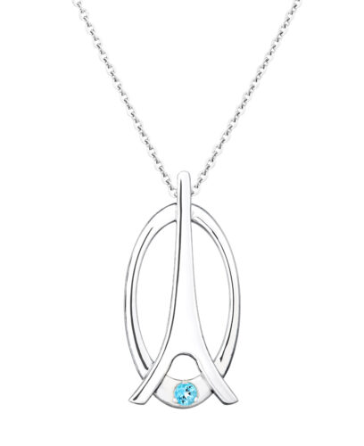 Eiffel tower pendant with blue topaz